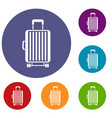 suitcase on wheels icons set vector image vector image