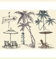 summer set design elements sunbeds and beach vector image vector image