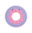 tasty donut dessert cartoon food cute line vector image vector image