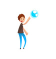 teen boy pointing his finger at soap bubble vector image vector image