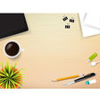 Top view of stationary pen pencil eraser tablet vector image vector image
