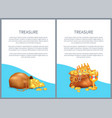treasure hidden in bags royal crown and goblet vector image vector image
