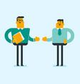 two caucasian white confident businessmen talking vector image