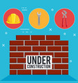 wall with under construction equipment vector image vector image