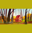 wooden stilt house in autumn forest old shack