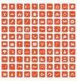 100 nursery school icons set grunge orange vector image vector image