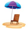 A stripe beach umbrella and a wooden chair vector image vector image