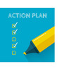 action plan concept design with yellow pencil