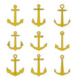 anchor outline icons set vector image vector image