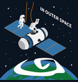 astronaut outer space background vector image vector image