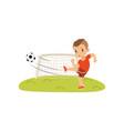 boy with soccer ball doing kick on lawn sad vector image