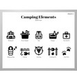 camping elements solid pack vector image