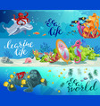 cartoon colorful sea animals horizontal banners vector image vector image