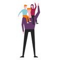 children riding on father shoulders vector image vector image