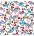 colorful doodle hand drawn birds love hearts vector image