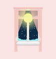 cozy pink room window with pink curtains full vector image vector image