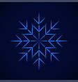 crystal blue simple snowflake on blue vector image vector image