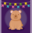 cute bear with garlands hanging vector image vector image