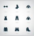 dress icons set with bow tie hoodie pullover and vector image vector image