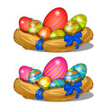 easter eggs with pattern in straw decorations vector image vector image