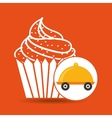 fast delivery food cup cake dessert vector image vector image