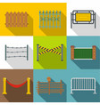 fencing modules icon set flat style vector image vector image