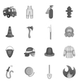 Firefighting icons set black monochrome style