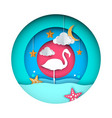 flamingo cartoon paper landscape vector image