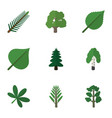 flat icon ecology set of forest maple linden and vector image vector image
