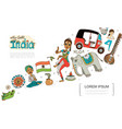 flat india colorful template vector image vector image