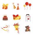 flat set of birthday party elements gifts vector image vector image