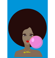 Funky girl and bubble gum vector | Price: 1 Credit (USD $1)