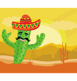 funny cactus with a sombrero in desert vector image