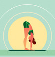 girl standing in yoga standing forward bend pose vector image vector image