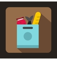Grocery bag with food icon flat style vector image vector image