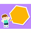 happy little boy kid with empty speech bubble vector image vector image