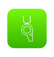 hockey whistle icon green vector image vector image