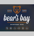 hunting or camping sign with icons bears bay vector image
