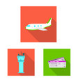 isolated object of airport and airplane sign vector image vector image