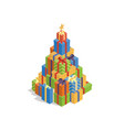 Isometric gift box christmas tree