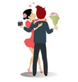kissing love couple isolated vector image vector image