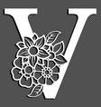 letter silhouette with flowers letter v vector image vector image
