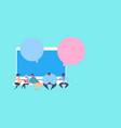 man team laptop chat bubble application vector image vector image