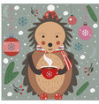 merry christmas hedgehog with a cup of coffee vector image