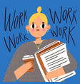 office girl worker with documents and coffee vector image vector image