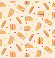 pattern with tasty fast food in orange colors vector image vector image