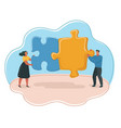 people hold puzzle pieces vector image