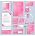 Pink set of corporate identity template vector image