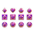 poker symbols playing cards in purple vector image