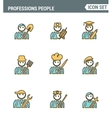 Professional business people line avatars vector image vector image
